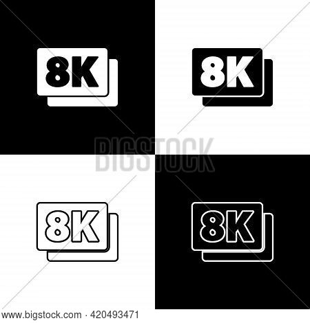 Set 8k Ultra Hd Icon Isolated On Black And White Background. Vector