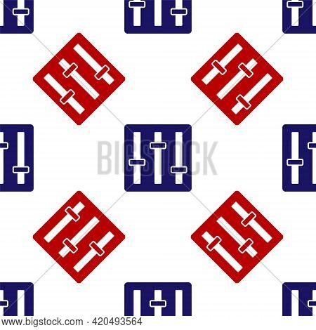 Blue And Red Sound Mixer Controller Icon Isolated Seamless Pattern On White Background. Dj Equipment