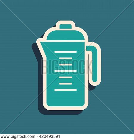 Green Teapot Icon Isolated On Green Background. Long Shadow Style. Vector