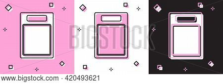 Set Cutting Board Icon Isolated On Pink And White, Black Background. Chopping Board Symbol. Vector