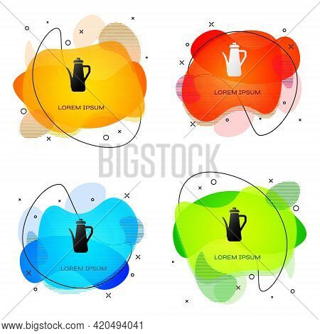 Black Teapot Icon Isolated On White Background. Abstract Banner With Liquid Shapes. Vector