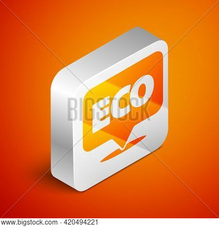 Isometric Banner, Label, Tag, Logo For Eco Green Healthy Food Icon Isolated On Orange Background. Or