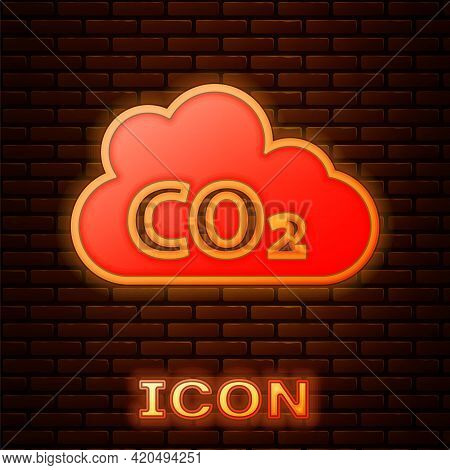 Glowing Neon Co2 Emissions In Cloud Icon Isolated On Brick Wall Background. Carbon Dioxide Formula,