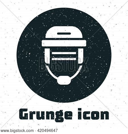 Grunge Hockey Helmet Icon Isolated On White Background. Monochrome Vintage Drawing. Vector
