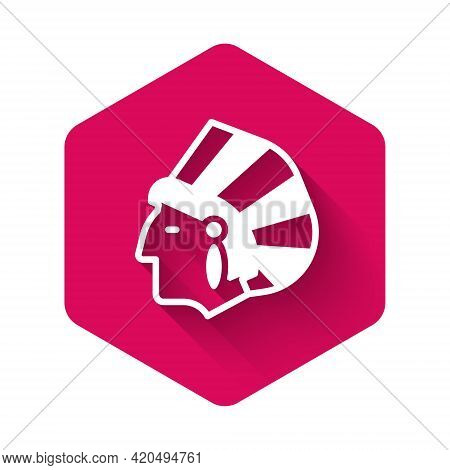 White Native American Indian Icon Isolated With Long Shadow. Pink Hexagon Button. Vector