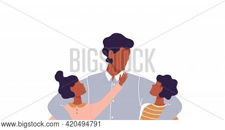 African Man Hugging His Son And Daughter. Faceless Dad Together With Children. Father Talking To His