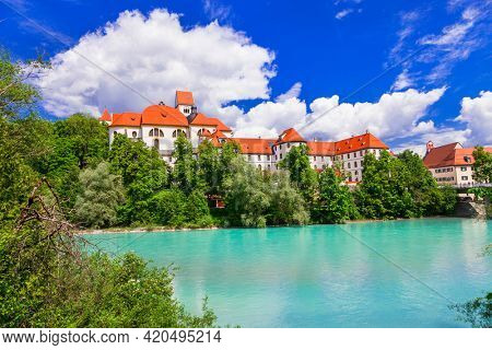 Famous medieval castles of Europe - pictorial Fussen in Bavaria . Germany travel and historic landmarks