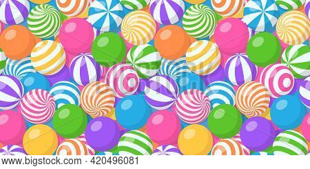 Seamless Pattern With Pile Of Colorful Balls, Bubble Gum, Round Candies Or Beach Bouncy Spheres. Vec