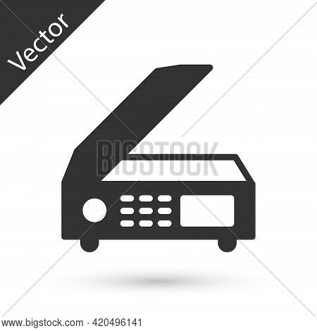 Grey Scanner Icon Isolated On White Background. Scan Document, Paper Copy, Print Office Scanner. Vec