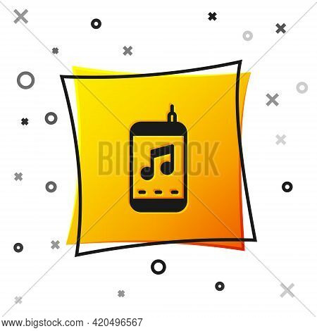Black Music Player Icon Isolated On White Background. Portable Music Device. Yellow Square Button. V