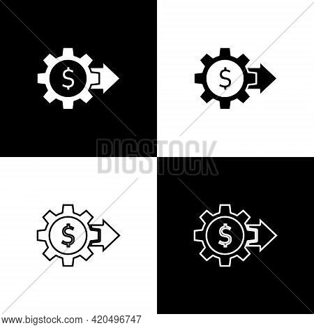 Set Gear With Dollar Symbol Icon Isolated On Black And White Background. Business And Finance Concep