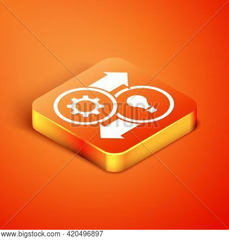 Isometric Human Resources Icon Isolated On Orange Background. Concept Of Human Resources Management,