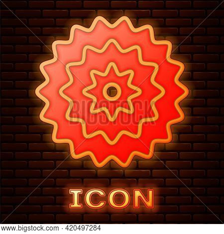 Glowing Neon Bicycle Cassette Mountain Bike Icon Isolated On Brick Wall Background. Rear Bicycle Spr