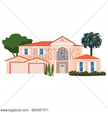 Mansion Residential Home Building, Tropic Trees, Palms. House Exterior Facades Front View Architectu