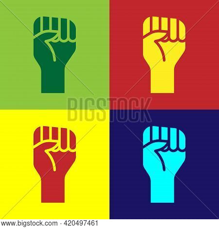 Pop Art Raised Hand With Clenched Fist Icon Isolated On Color Background. Protester Raised Fist At A