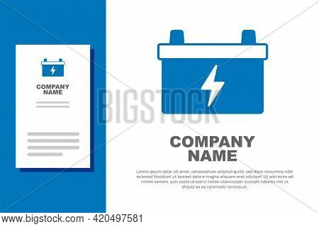Blue Car Battery Icon Isolated On White Background. Accumulator Battery Energy Power And Electricity