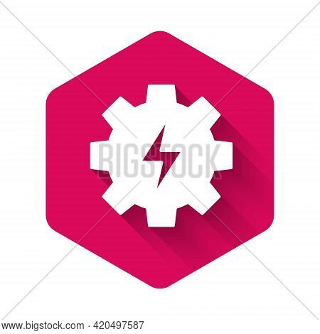 White Gear And Lightning Icon Isolated With Long Shadow Background. Electric Power. Lightning Bolt S