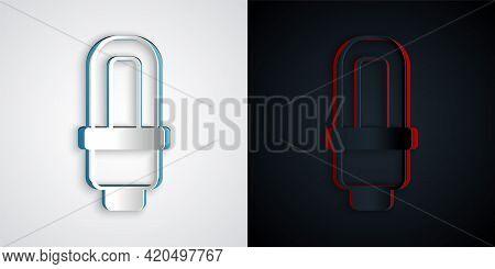 Paper Cut Led Light Bulb Icon Isolated On Grey And Black Background. Economical Led Illuminated Ligh