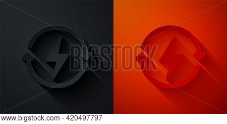 Paper Cut Recharging Icon Isolated On Black And Red Background. Electric Energy Sign. Paper Art Styl