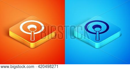 Isometric Gong Musical Percussion Instrument Circular Metal Disc And Hammer Icon Isolated On Orange