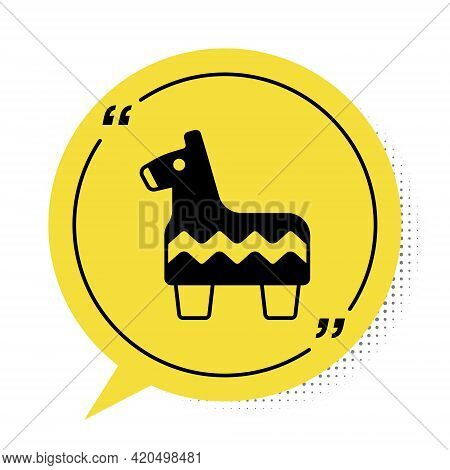 Black Pinata Icon Isolated On White Background. Mexican Traditional Birthday Toy. Yellow Speech Bubb
