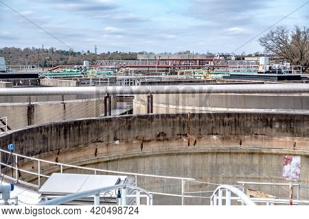 Wastewater Treatment Plant On A Sunny Day