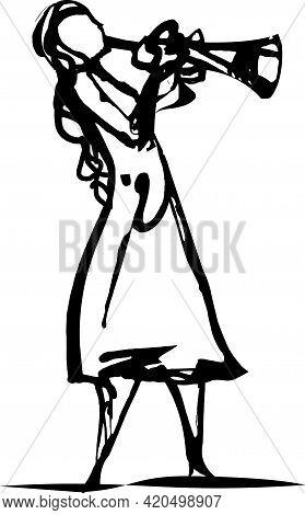 Trumpeter Woman. Musical Instrument. Vector Flat Illustration