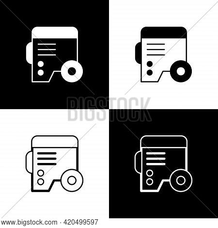 Set Portable Power Electric Generator Icon Isolated On Black And White Background. Industrial And Ho