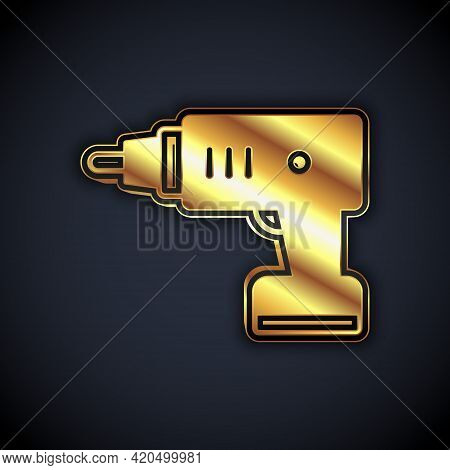 Gold Electric Cordless Screwdriver Icon Isolated On Black Background. Electric Drill Machine. Repair