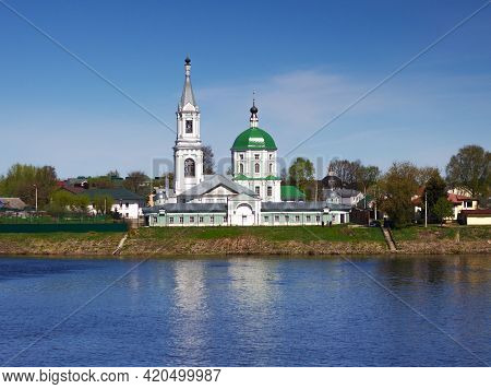 Tver, Russia, May 2021: St. Catherine's Convent In Tver. Monastery On The Volga River In Tver. View