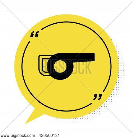 Black Leaf Garden Blower Icon Isolated On White Background. Yellow Speech Bubble Symbol. Vector