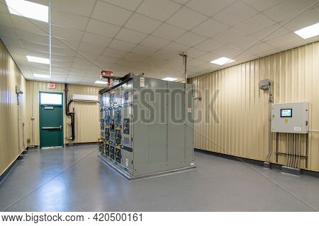 Electric Voltage Control Room At Industrial Plant