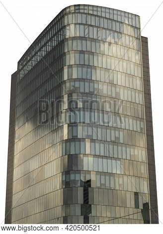 Bangkok, Thailand - 12 May 2021 : The Glass Cladding Of Office Tower Reflect A Beautiful Afternoon S