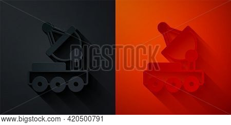 Paper Cut Mars Rover Icon Isolated On Black And Red Background. Space Rover. Moonwalker Sign. Appara