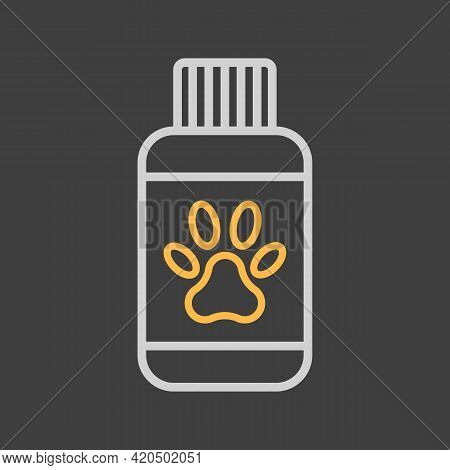 Pet Shampoo Vector Icon On Dark Background. Pet Animal Sign. Graph Symbol For Pet And Veterinary Web
