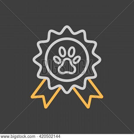 Pets Award Rosette Vector Icon On Dark Background. Pet Animal Sign. Graph Symbol For Pet And Veterin