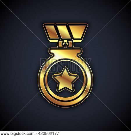 Gold Medal With Star Icon Isolated On Black Background. Winner Achievement Sign. Award Medal. Vector