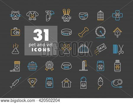 Pet And Vet Vector Icon Set On Dark Background. Graph Symbol For Pet And Veterinary Web Site And App