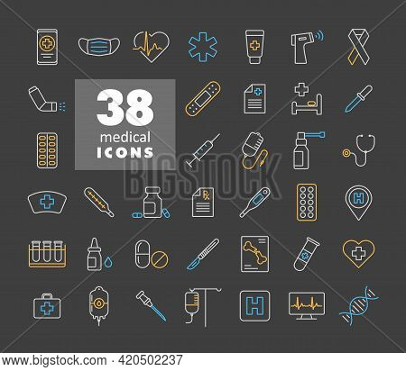 Medical Vector Icons Set On Dark Background. Medicine And Healthcare, Medical Support Sign. Graph Sy