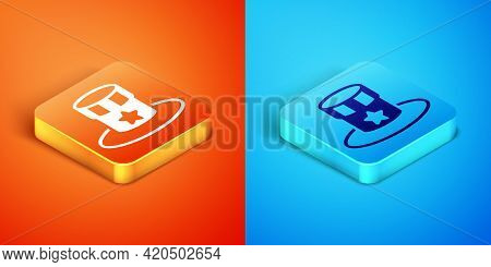 Isometric Patriotic American Top Hat Icon Isolated On Orange And Blue Background. Uncle Sam Hat. Ame
