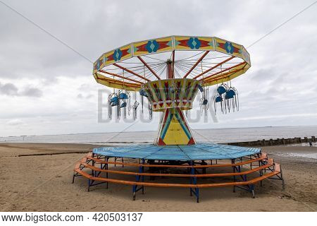 Cleethorpes, North East Lincolnshire, England - 14 May 2021: An Empty Cleethorpes Kids Funfair Durin