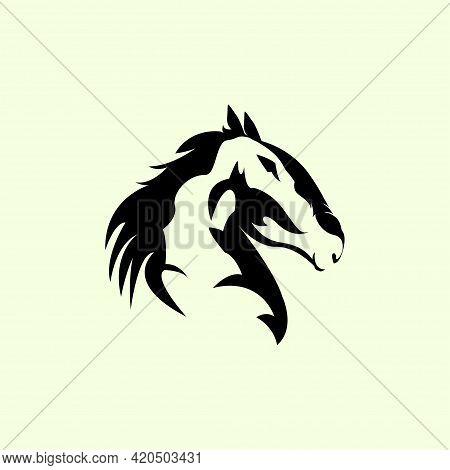 Elegant Racehorse Head Logo Silhouette In Logotype