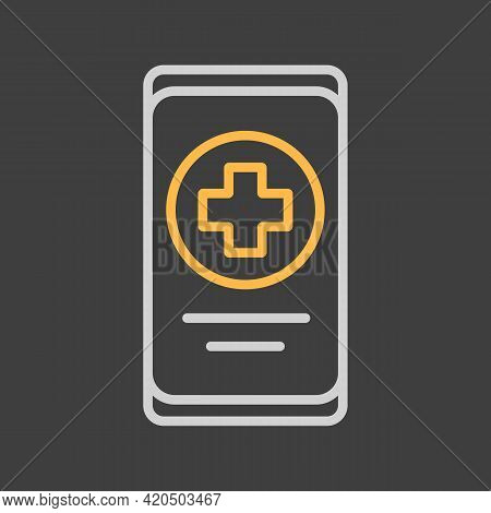Smartphone With Medical Cross Vector Icon On Dark Background. Medicine And Medical Support Sign. Gra