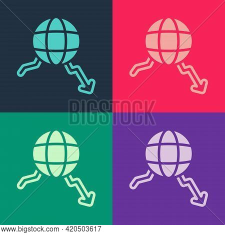 Pop Art Global Economic Crisis Icon Isolated On Color Background. World Finance Crisis. Vector