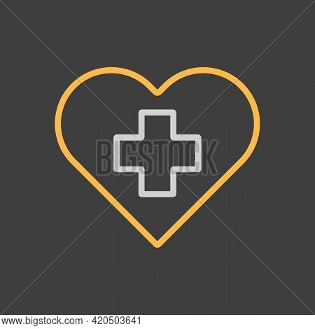 Cross Inside Heart Vector Icon On Dark Background. Medicine And Healthcare, Medical Support Sign. Gr