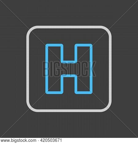 Hospital Vector Icon On Dark Background. Medicine And Healthcare, Medical Support Sign. Graph Symbol