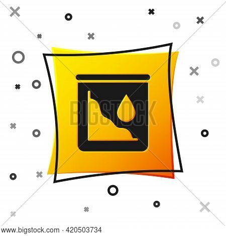 Black Drop In Crude Oil Price Icon Isolated On White Background. Oil Industry Crisis Concept. Yellow