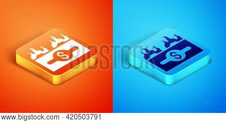 Isometric Burning Dollar Bill Icon Isolated On Orange And Blue Background. Dollar Bill On Fire. Burn