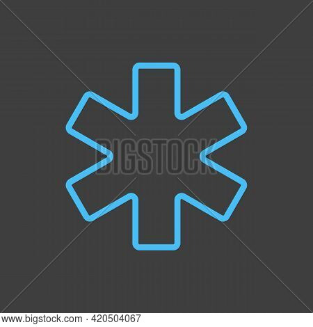Medical Emergency Care Glyph Vector Icon On Dark Background. Medicine And Medical Support Sign. Grap
