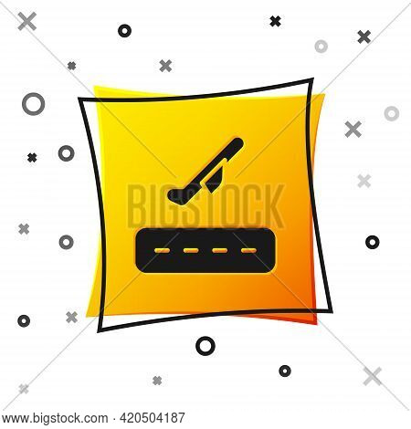 Black Plane Takeoff Icon Isolated On White Background. Airplane Transport Symbol. Yellow Square Butt